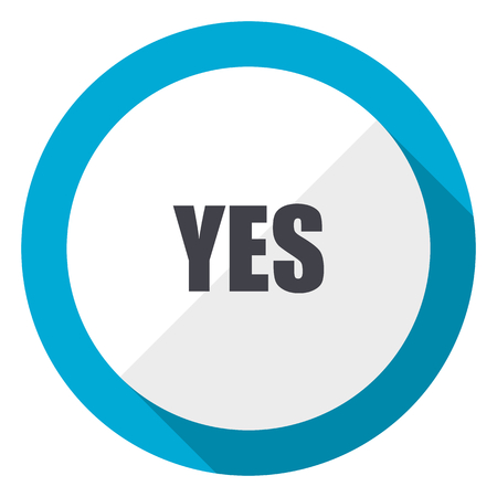 Yes blue flat design web icon