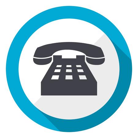 Phone blue flat design web icon