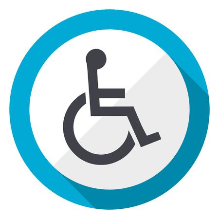 Wheelchair blue flat design web icon Stock Photo