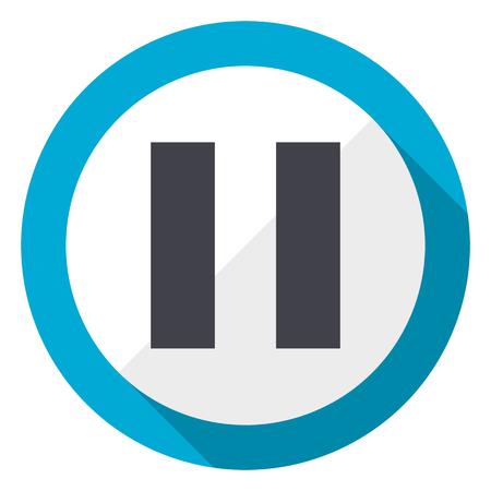 Pause blue flat design web icon