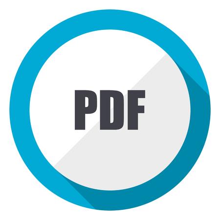 Pdf blue flat design web icon