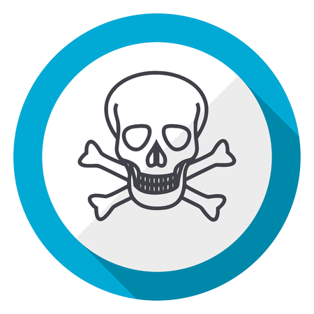 Skull blue flat design web icon