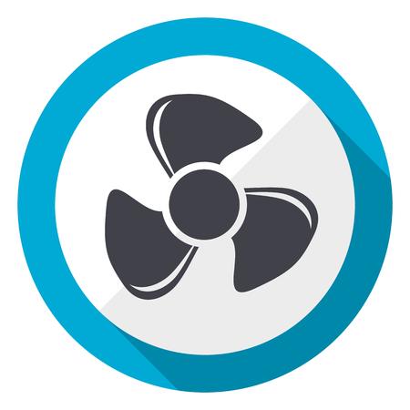 Fan blue flat design web icon