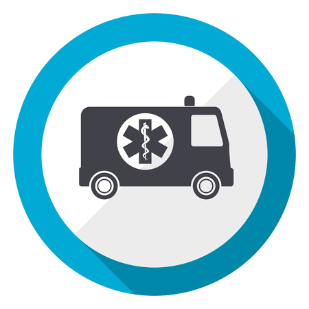 Ambulance blue flat design web icon