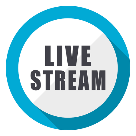 Live stream blue flat design web icon