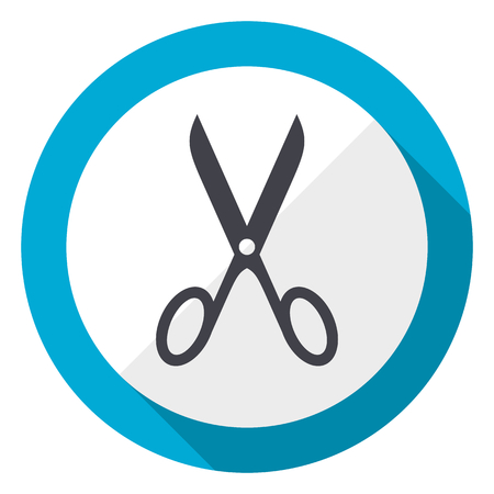 Scissors blue flat design web icon