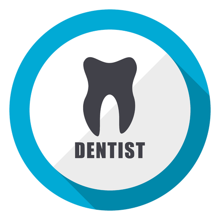 Dentist blue flat design web icon