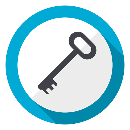 Key blue flat design web icon