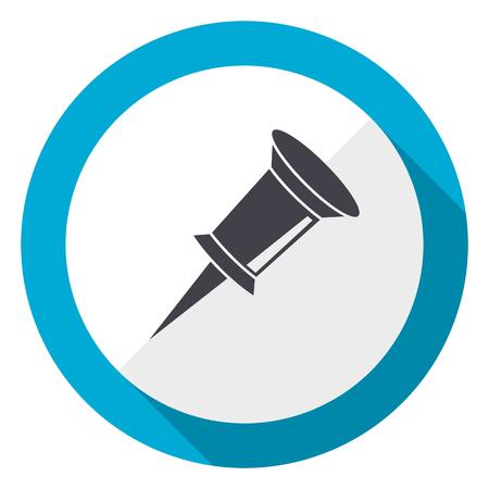 Pin blue flat design web icon Stock Photo