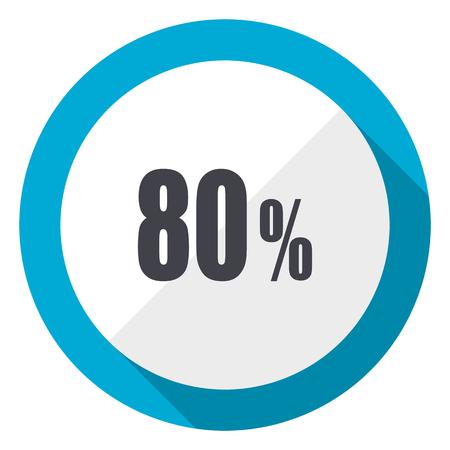 80 percent blue flat design web icon