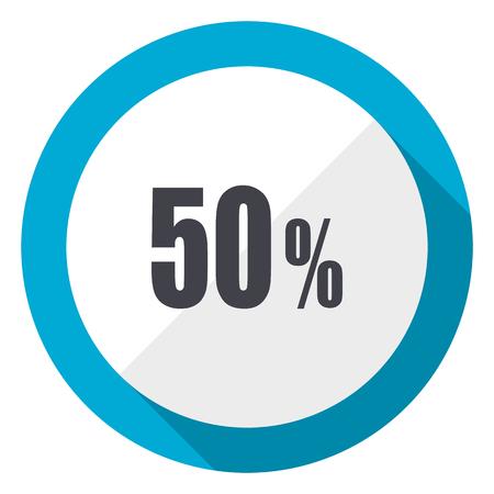 50 percent blue flat design web icon