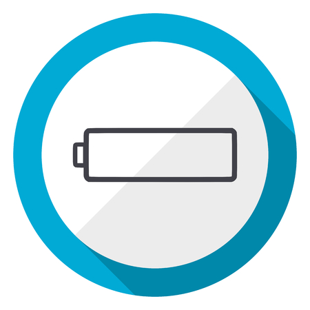 Battery blue flat design web icon