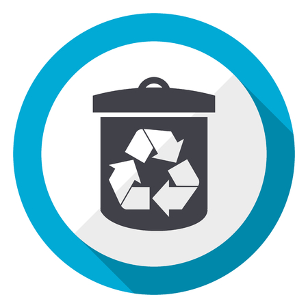 Recycle blue flat design web icon