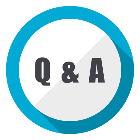 Question answer blue flat design web icon