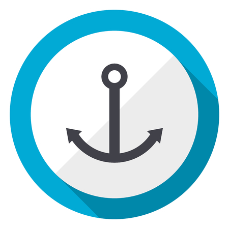 Anchor blue flat design web icon