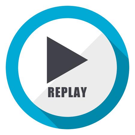 Replay blue flat design web icon 스톡 콘텐츠