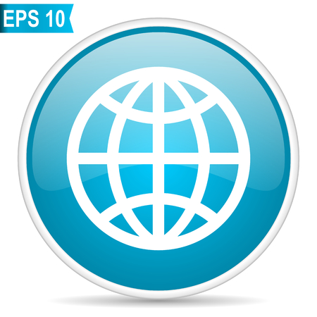Earth blue round glossy web vector icon