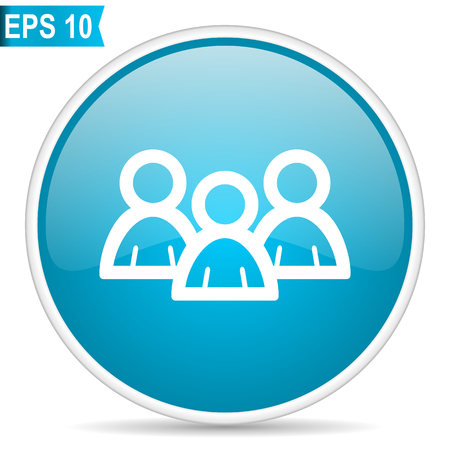 Forum blue round glossy web vector icon Illustration