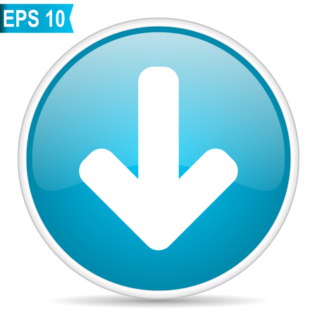 Download arrow blue round glossy web vector icon.