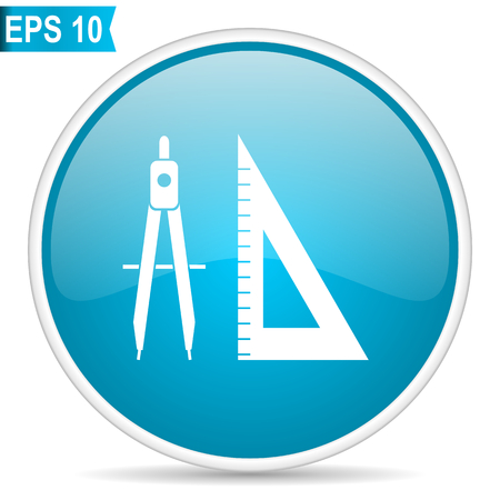 Design blue round glossy web vector icon