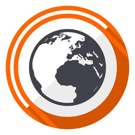 Earth orange flat design vector web icon Illustration