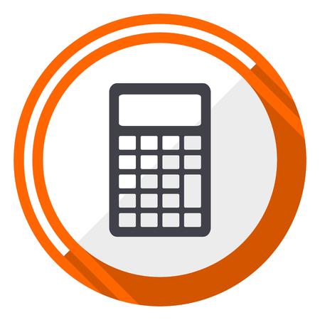 Calculator orange flat design vector web icon.