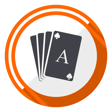 Card orange flat design vector web icon