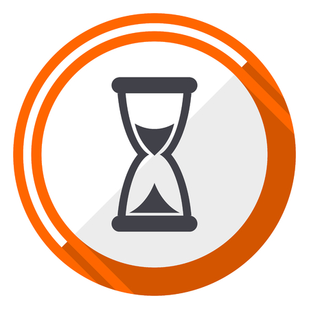 Time orange flat design vector web icon Illustration