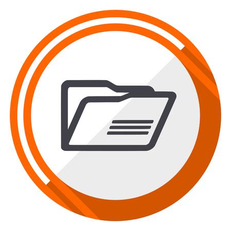 Folder orange flat design vector web icon
