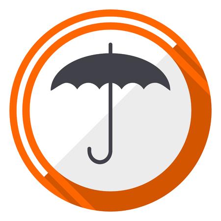 Umbrella orange flat design vector web icon