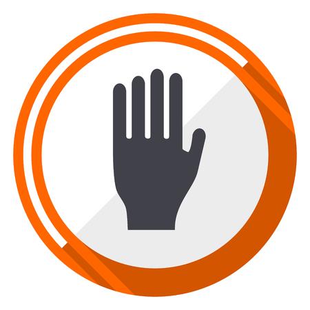 Stop orange flat design vector web icon.