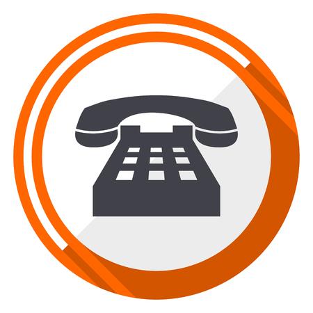 Icône de téléphone vecteur design plat orange web