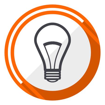 Bulb orange flat design vector web icon.