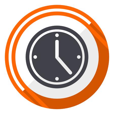 Time orange flat design vector web icon Illustration