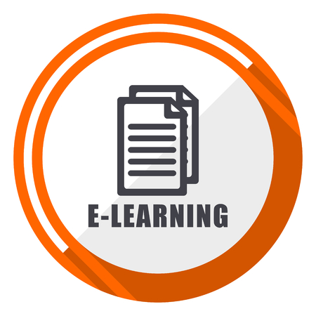Learning orange flat design vector web icon