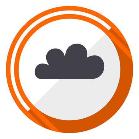 Cloud orange flat design vector web icon
