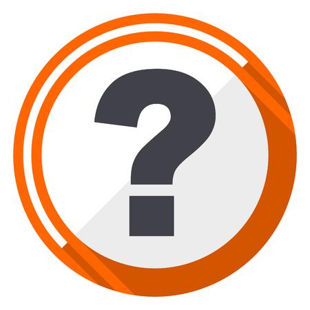 Question mark orange flat design vector web icon