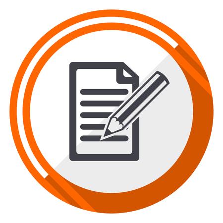 Subscribe orange flat design vector web icon.