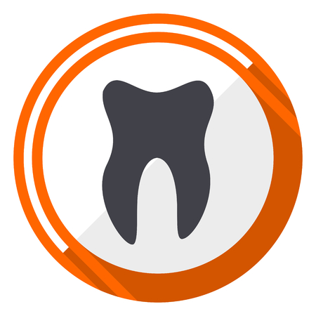 Tooth orange flat design vector web icon Illustration