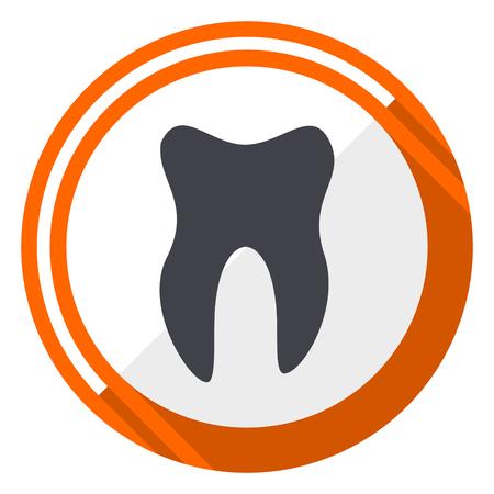 Tooth orange flat design vector web icon Illustration