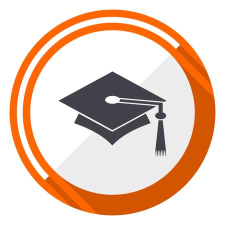 Education orange flat design vector web icon