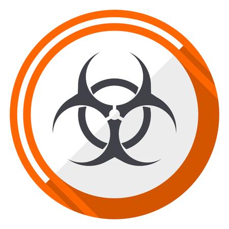 Biohazard oranje platte ontwerp vector web pictogram Stock Illustratie
