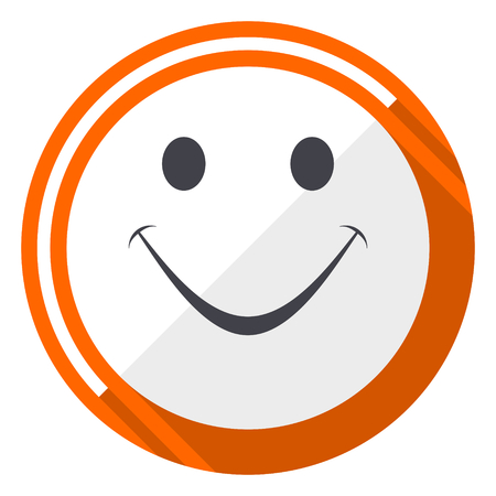 Smile orange flat design vector web icon Illustration