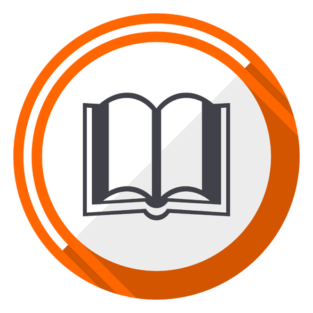 Book orange flat design vector web icon 向量圖像