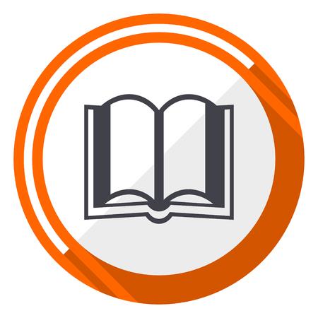 Book orange flat design vector web icon Illustration