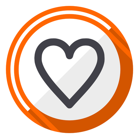 Heart orange flat design vector web icon