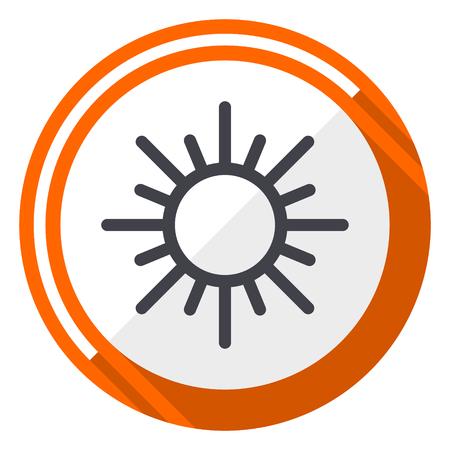 Sun orange flat design vector web icon