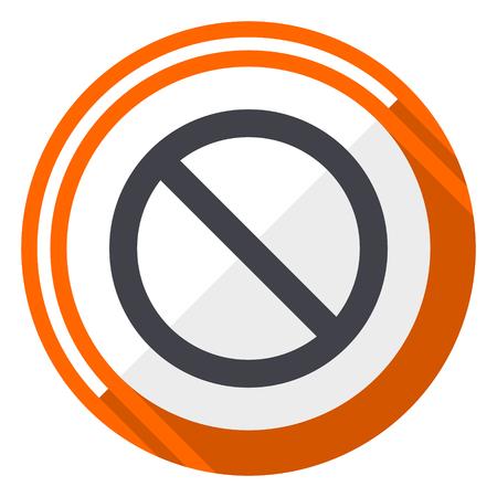 Access denied orange flat design vector web icon