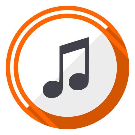 Music orange flat design vector web icon Illustration
