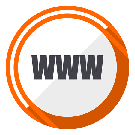 WWW orange flat design vector web icon